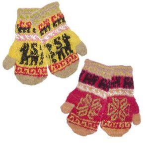 Moufles teinture naturelle en laine d'alpaga - modèle enfant