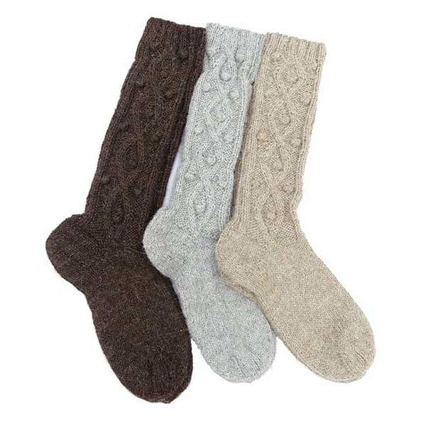 Chaussettes longues couleurs naturelles unies motifs en relief